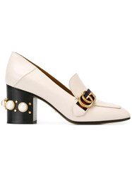Gucci Gg Web Mid Heel Loafer Pumps Nude Neutrals
