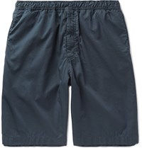 Our Legacy Washed Cotton Satin Drawstring Shorts Navy
