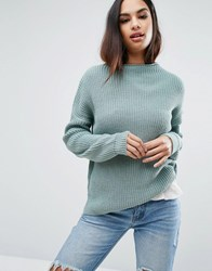 Missguided Turtle Neck Basic Jumper Light Green