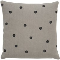 K Studio Dots Pillow Small 14 X 14 Hemp Black Stitch Gray