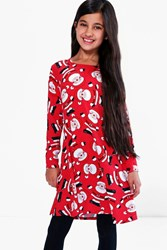 Boohoo All Over Father Christmas Swing Dress Red
