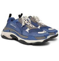 Balenciaga Triple S Mesh Suede And Leather Sneakers Blue