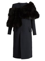 Toga Sheepskin Wrap Collarless Coat Navy