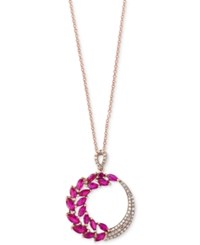 Effy Amore By Ruby 2 1 10 Ct. T.W. And Diamond 1 5 Ct. T.W. Pendant Necklace In 14K Rose Gold Red