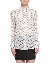 Saint Laurent Polka Dot Print Silk Blouse White Black White Black