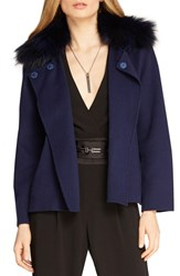 Women's Halston Heritage Double Face Jacket With Genuine Fox Fur Collar