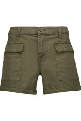 J Brand Kai Cotton Blend Shorts Army Green