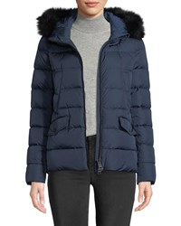 Herno Down Coat W Detachable Fur And Hood Blue