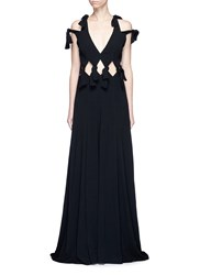 Rosetta Getty Cold Shoulder Cutout Waist Crepe Gown Black