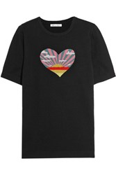 Bella Freud Sunset Heart Intarsia Cotton And Cashmere Blend Top Black