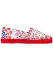 Dolce And Gabbana Mambo Print Espadrilles Red
