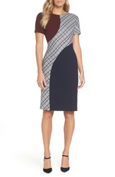 Eliza J Colorblock Sheath Dress Navy
