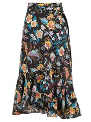 Etro Cheshire Floral Print Cotton Wrap Midi Skirt Black Multi