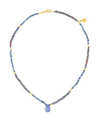 Gurhan Delicate Hue Pearl Sapphire And Tanzanite Pendant Necklace
