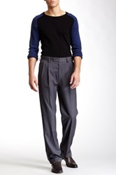 Louis Raphael Solid Herringbone Super 150 Straight Fit Double Pleat Pant Gray