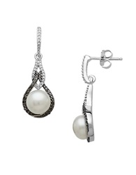 Lord And Taylor Sterling Silver Pearl And Black Diamond Drop Earrings