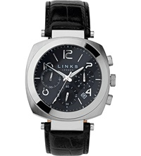 Links Of London Brompton Leather Strap Chronograph Watch Black