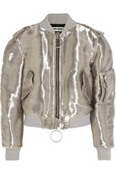 Off White Metallic Taffeta Bomber Jacket Silver