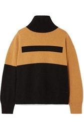 Akris Color Block Cashmere Turtleneck Sweater Black