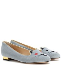 Charlotte Olympia Flirty Kitty Velvet Slippers Grey