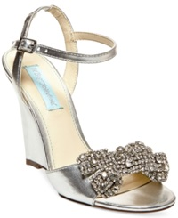 Blue By Betsey Johnson Dress Wedge Evening Sandals Women's Shoes Silver