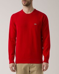 Lacoste Red Crew Neck Crocodile Logo Sweater