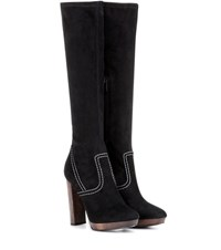 Burberry London England Peardon Suede Knee High Boots Black