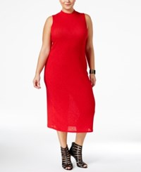 Monteau Trendy Plus Size Bodycon Sweater Dress Red