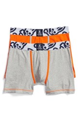 Psycho Bunny Men's Cool Colors Assorted 2 Pack Stretch Cotton Boxer Briefs Heather Grey Kumquat