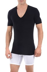 Men's Tommy John 'Second Skin' Deep V Neck Undershirt Black