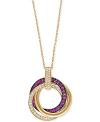 Effy Collection Ruby Royale By Effy Ruby 1 3 Ct. T.W. And Diamond 1 4 Ct. T.W. Pendant Necklace In 14K Gold Yellow Gold