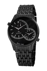 August Steiner Men's Quartz Dual Time Bracelet Watch Black