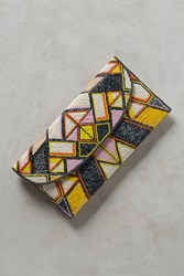 Anthropologie Geometric Envelope Clutch Dark Yellow