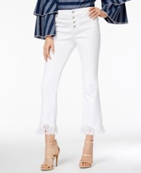 Inc International Concepts Fringe Trim Curvy Cropped Jeans Only At Macy's White Denim