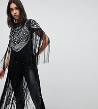 A Star Is Born Going Out Embellished Bodysuit With Fringe Detail Multi