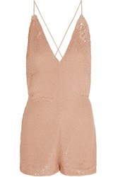 Valentino Sequined Silk Playsuit Pink