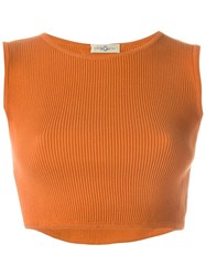 Romeo Gigli Vintage Ribbed Crop Top Yellow And Orange