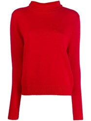 Aspesi Roll Neck Fitted Sweater Red