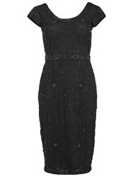 Gina Bacconi Beaded Lace Cocktail Dress Black