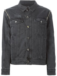 Filles A Papa Detachable Sleeve Denim Jacket Grey