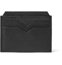 Valextra Pebble Grain Leather Cardholder Black