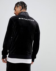 Sixth June Track Jacket In Black Velour With Logo Back Print