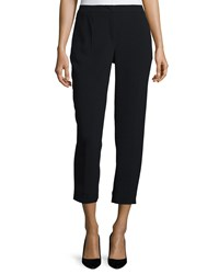 Escada Pleated Front Cropped Pants Black
