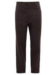 Mhl By Margaret Howell High Rise Cotton Twill Trousers Black