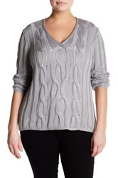 Lafayette 148 New York Cable Knit Silk Blend Sweater Plus Size Gray