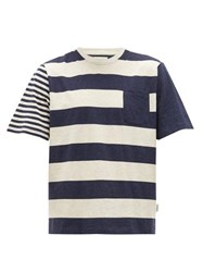 Oliver Spencer Finsbury Striped Cotton Jersey T Shirt Navy