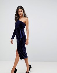 Lavish Alice One Shoulder Midi Dress With Twist Detail In Velvet Sequin Navy
