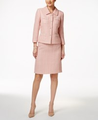 Tahari By Arthur S. Levine Asl Boucle Skirt Suit Coco Pink
