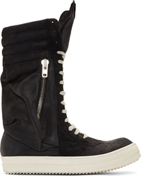 Rick Owens Black And White Leather Cargobasket Sneaker Boots