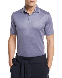 Ermenegildo Zegna Textured Polo Shirt Light Purple Lt Prp Sld